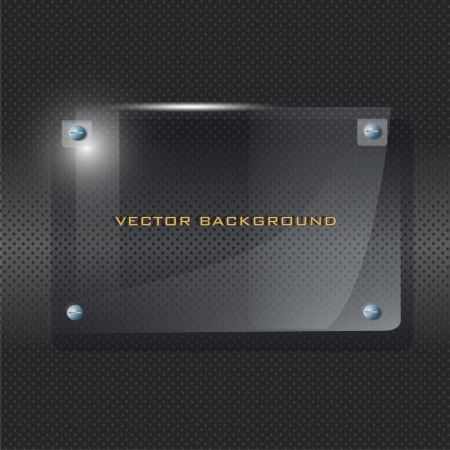 Transparent frame of glass on black background  Vector illustrator   Vector