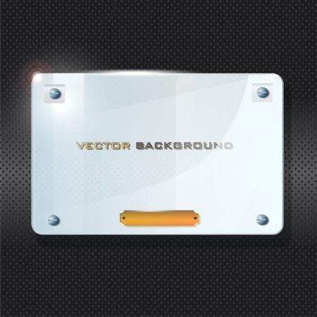 Transparent frame of  glass on black background  Vector design   Vector