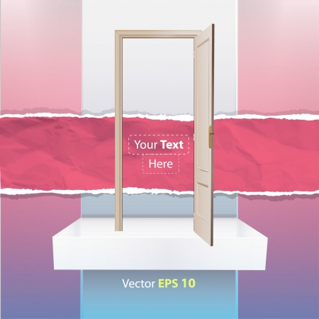 Realistic open door on a shelf  Vector illustration   Vector