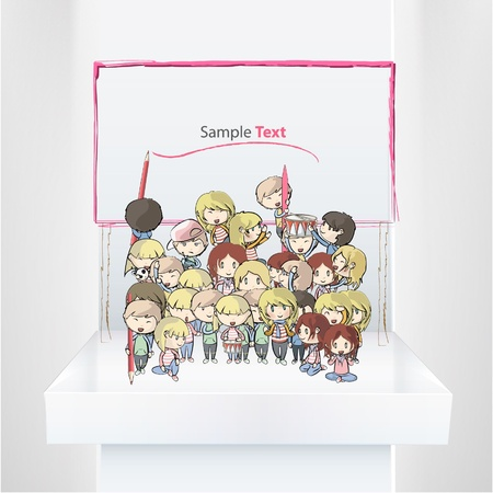art show: Many young friends on a shelf  Vector illustration