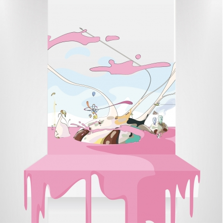 Funny world on a white shelves  Vector Background   Stock Vector - 17353217