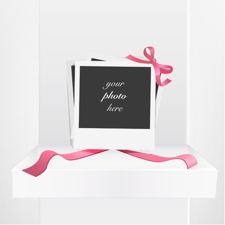 Empty photograph gift with red ribbons on a shelve  Vector design Stock Vector - 17353213