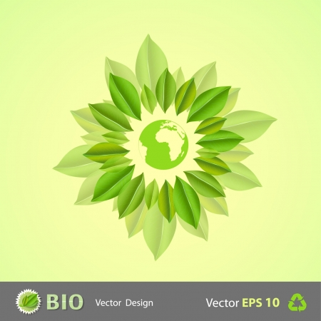 Ecological world surrounded by leaves  Eco Vector background   Vector