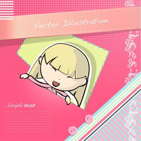 teenagers having fun: Girl having a look on post letter  Vector illustration   Illustration
