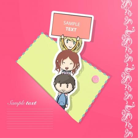 Children over children inside a pink envelope  Vector illustration   Stock Vector - 17353235