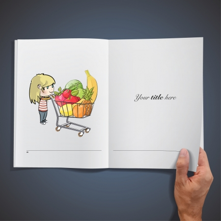 Blonde girl buying fruit in a supermarket  Realistic illustration of a magazine   Vector