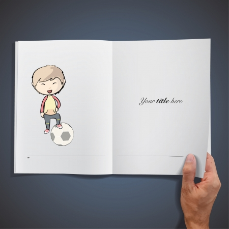 Child playing with a soccer ball  Realistic illustration of a magazine