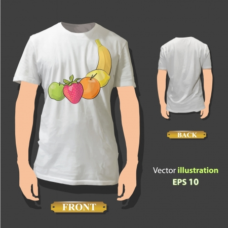 Fruits printed on white shirt  Vector design   Stock Vector - 17353272