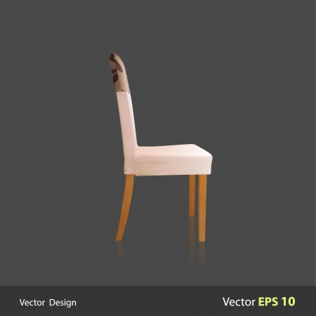 Simple white chair design with a gray background design   Vector