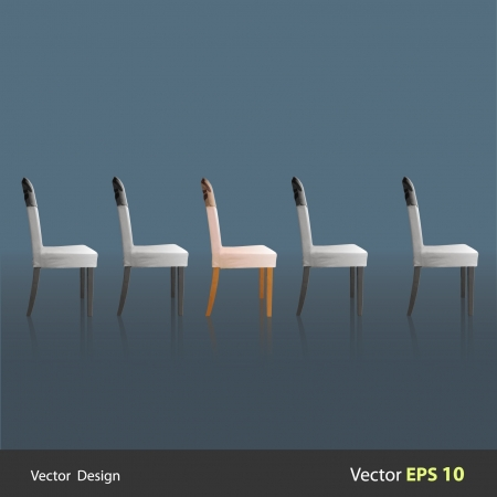 which one: Row of chairs in which highlights one  Vector design