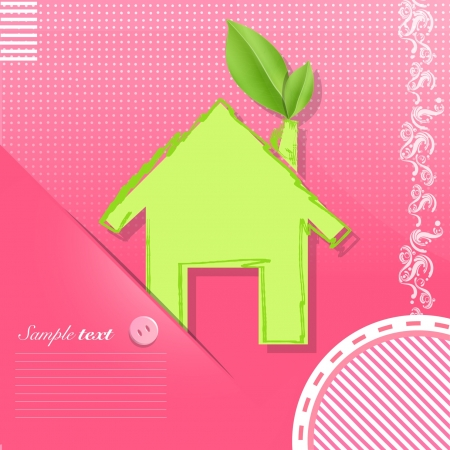 Icon of a house with a leaf on a pink card design   Stock Vector - 17407247