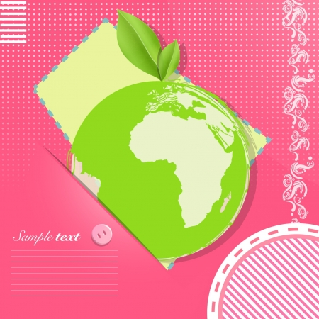 Eco icon of a leaf on a planet inside a pink card design   Stock Vector - 17407388