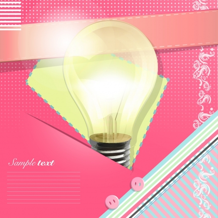 Realistic light bulb in pink card background design   Stock Vector - 17407325