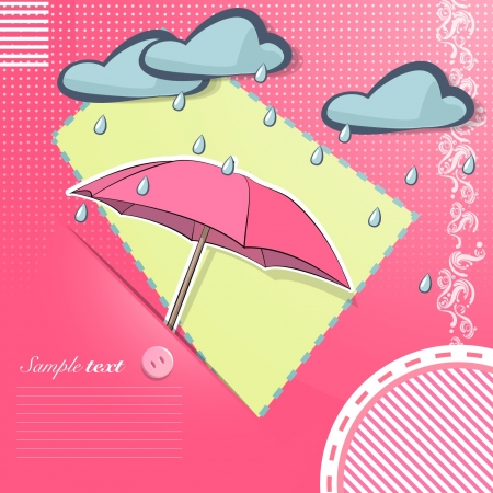 Umbrella on pink fabric illustration   Vector