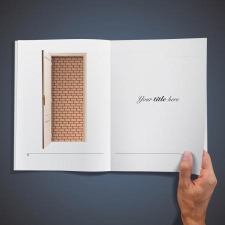 Brick wall inside a book design Stock Vector - 17407369