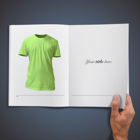 Empty green shirt inside a book design   Illustration