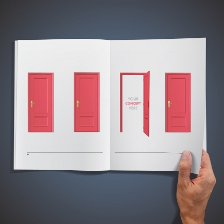 Open and closer red doors inside a book design   Stock Vector - 17407404