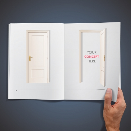 Open and closed doors inside a book design   Vector