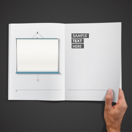 White screen project inside a book design