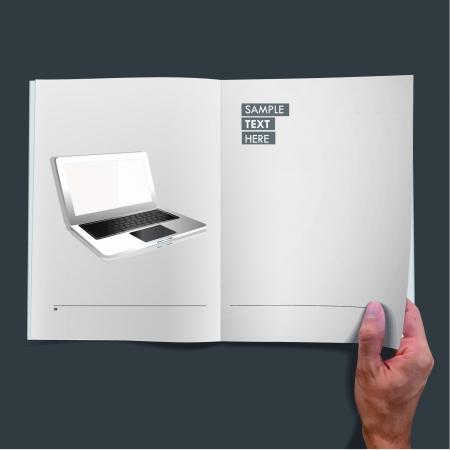 Modern laptop inside a book  illustration   Stock Vector - 17407137