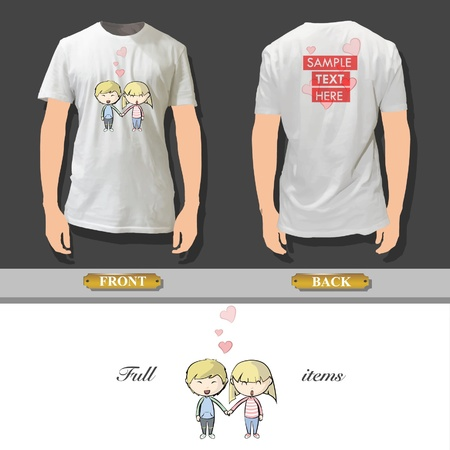 Couple in love printed on a shirt design   Vector