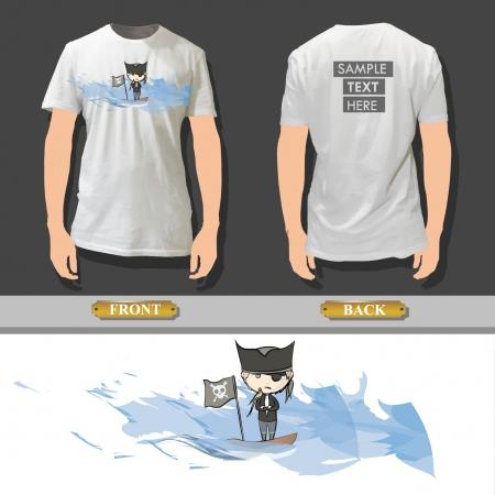 t shirt model: Pirata stampato su una shirt design