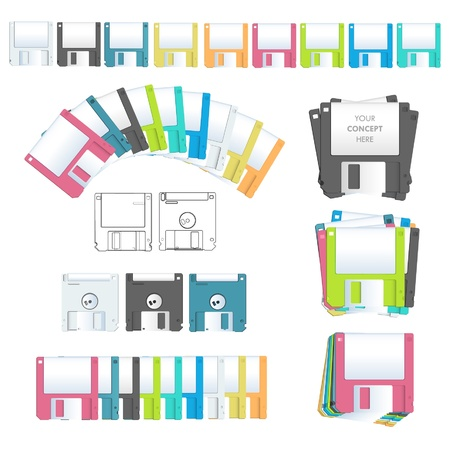 Collection diskettes design   Vector
