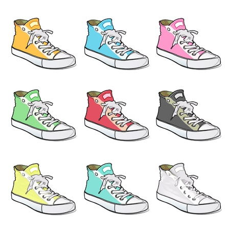 Collection of colorful shoes design   Vector