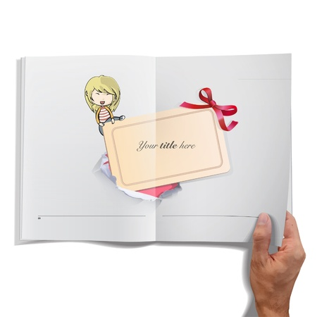 Girl holding cardboard inside a book design Stock Vector - 17409197