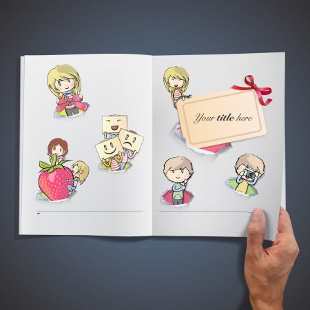Set of kids in hole paper inside a book background design   Vector