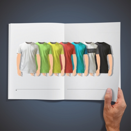 Multiple colorful shirt inside a book design Stock Vector - 17409209