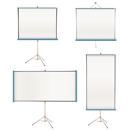 tripod projector: Collection of empty projector screens isolated on white  Vector design   Illustration