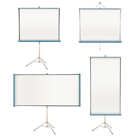 Het verzamelen van lege projectieschermen geïsoleerd op wit Vector design