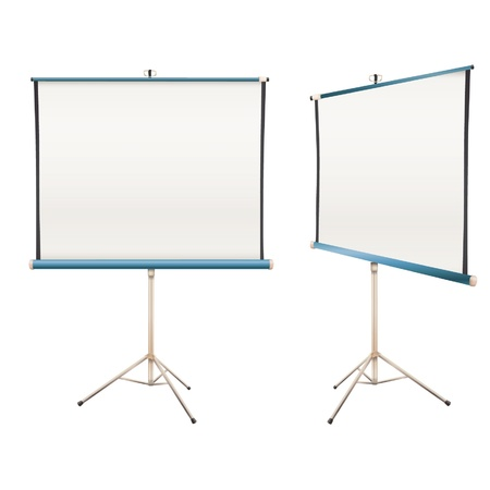 tripod projector: Empty projector screen Isolated on white  design   Illustration