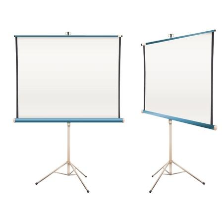 projector screen: Vuoto Isolato su schermo del proiettore design bianco Vettoriali