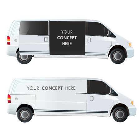 Van with door open and close for insert text  Vector illustration   Vector