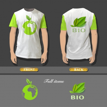 Shirt design with an ecologics icons  Realistic vector design   Vector