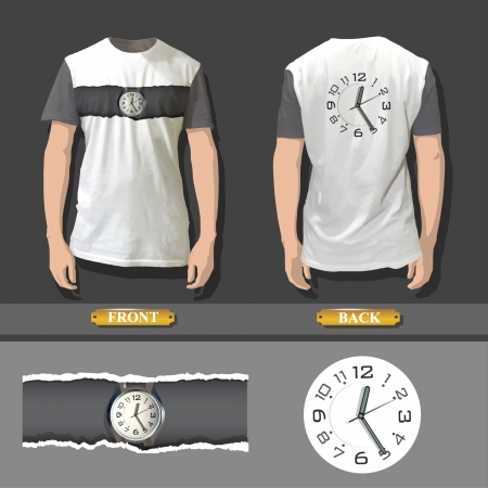 Shirt design with an illustration of a clock  Realistic vector design   Vector
