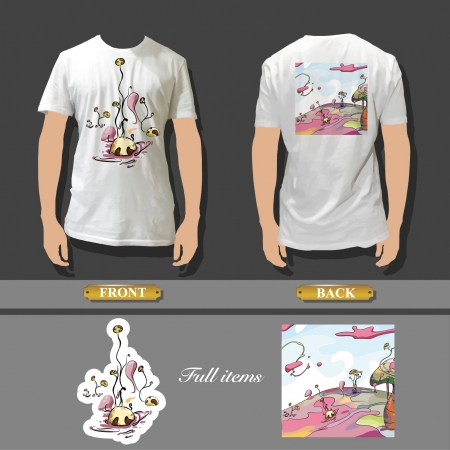 Full white T-shirt template front and back with beautiful image for insert  Vector design   Vector