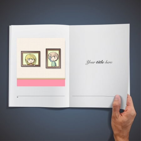 Two kids inside a frame  Realistic illustration of a magazine Stock Vector - 17422642