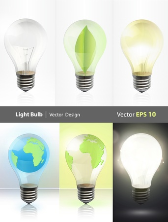 save electricity: Collection of realistic bulbs  Lightbulb, lightbulb off, bulb with earth, and bulb with leaf  Vector design   Illustration