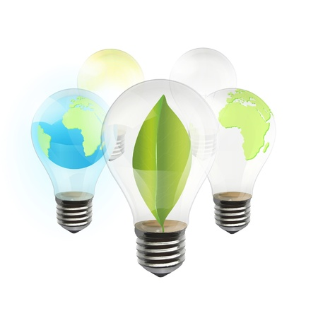 Collection of realistic eco bulb isolated on white  Vector background design   Vector