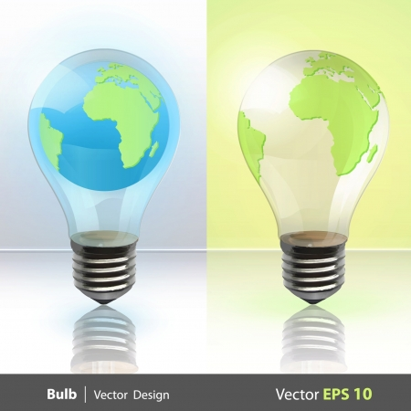 Eco light bulb with a world inside  Vector design Stock Vector - 17470195