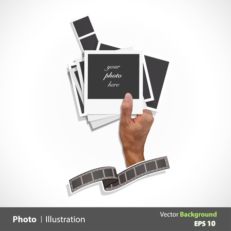 Hand of a person taking many types of photos  Vector design   Vector