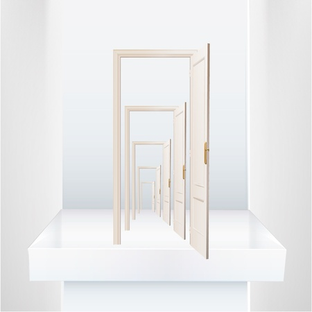 Infinite doors on a shelve  Vector design   Vector