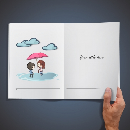 Children in the rain  Realistic illustration of a magazine   Vector