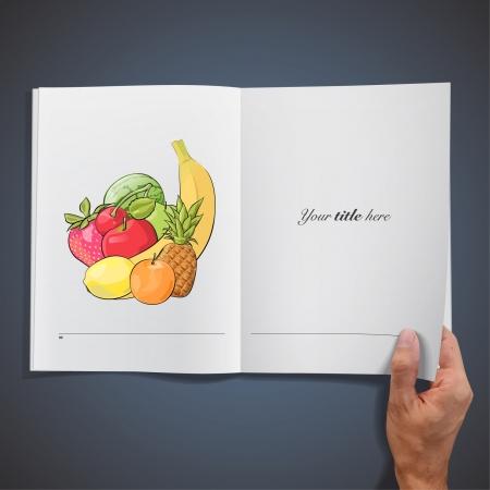 Fruit collection inside a book  Vector design   Stock Vector - 17470164
