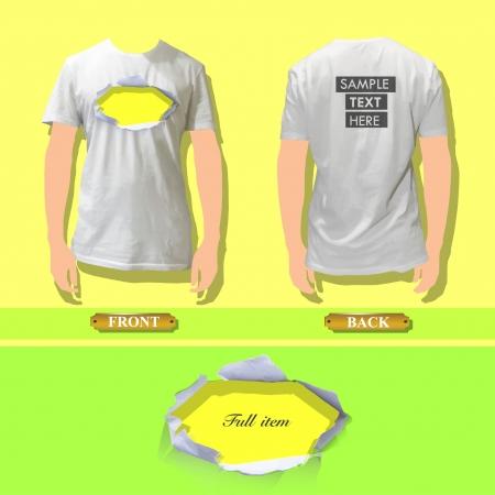short break: Realistic hole on a shirt  Vector background design   Illustration