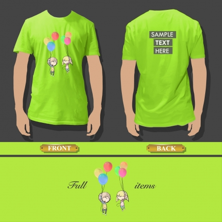 flaying: Shirt design with kids flaying with balloons  Realistic vector illustration