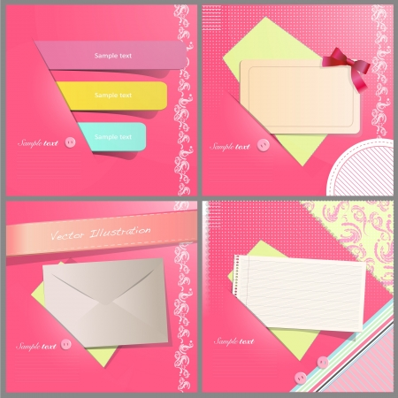 Beautiful envelope invitation of paper with red ribbons on pretty pink texture  Collection of multiple vector images background illustration Stock Vector - 17470167